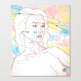 Girl stuck in space Canvas Print