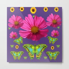 FUCHSIA COSMO FLORALS GREEN MOTHS SUNFLOWERS Metal Print