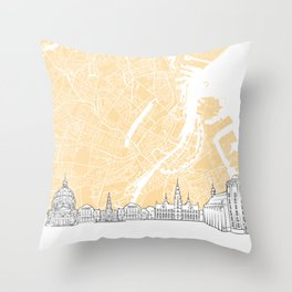 Copenhagen Denmark Skyline Map Throw Pillow