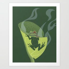 Pacific Tree Frog in Skunk Cabbage Art Print
