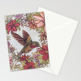 Hummingbird In Flowery Garden Wreath Stationery Cards
