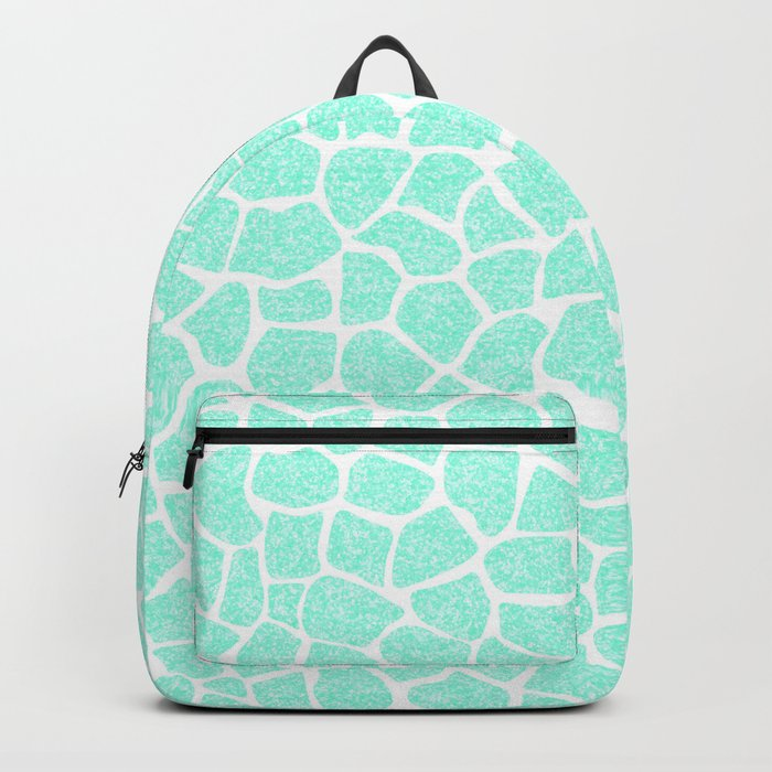 Light Blue Glitter Giraffe Print Backpack