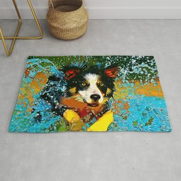 border collie jumping in water vector art Rug