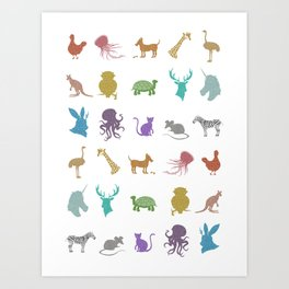 Glitter Animals A Art Print