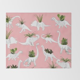 Dinosaurs & Succulents Throw Blanket