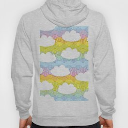 Kawaii white clouds and rainbow sky Hoody