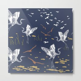 Flying Egrets With Blue Background Metal Print