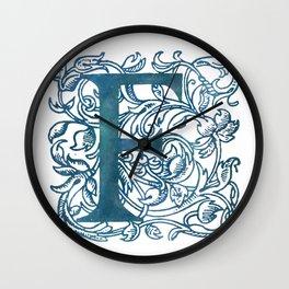 Letter F Antique Floral Letterpress Monogram Wall Clock