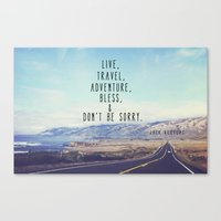 kerouac Canvas Prints featuring Kerouac - Travel Edition by Altgasse Designs