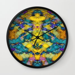 Interlocking ghosts yellow Wall Clock