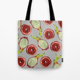 Pomegranate - Dragon Fruit Pattern grey Tote Bag