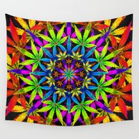 cannabis Wall Tapestries featuring Stoners' Mandala Cannabis Leaf Art Digital Illustration by The Weed Art Lady