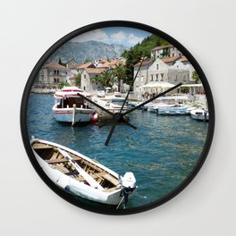 Montenegro Perast, Boko Kotor Bay Berth Boats Houses Cities Pier Marinas Building Wall Clock