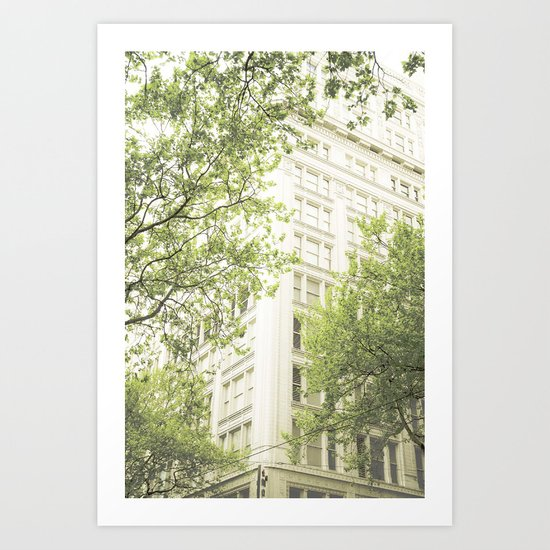 green in the grey Art Print