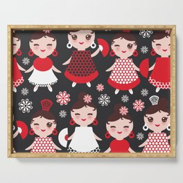 Seamless pattern spanish Woman flamenco dancer. Kawaii cute face with pink cheeks and winking eyes. Serving Tray