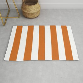 Cocoa brown - solid color - white stripes pattern Rug