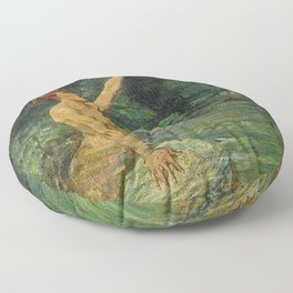Merman Reaching Up By Myrtle Florence Broome Floor Pillow