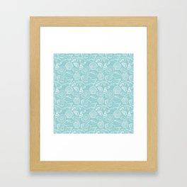 sea shells on blue Framed Art Print