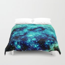 GALAXY. Teal Aqua Stars Duvet Cover