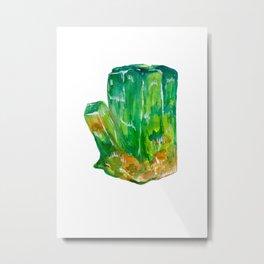 Emerald Birthstone Watercolor Illustration Metal Print