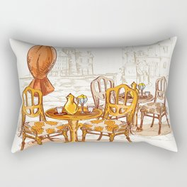 Street Cafe Sketch Rectangular Pillow