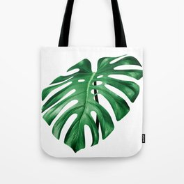 Split leaf philodendron leaf isolated on white Tote Bag