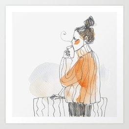 Coffee on balcony Art Print