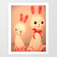 bunnies Art Prints featuring  Bunnies by Vintage  Cuteness