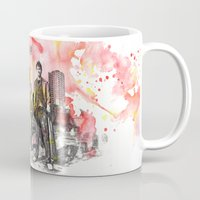 david tennant Mugs featuring Doctor Who 10th Doctor David Tennant With Companion Rose Tyler by idillard