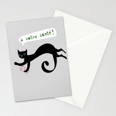 party animals - french cat Stationery Cards