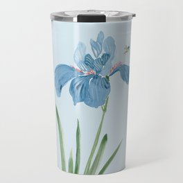 Blue Iris and Bee Travel Mug