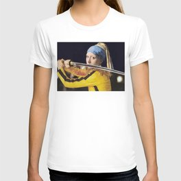 Beatrix Kiddo and Vermeer's Girl with a Pearl Earring T-shirt