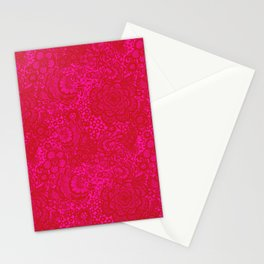 Birds and Flowers in Red and Pink Lace Stationery Cards