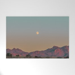 Sunset Moon Ridge // Grainy Red Mountain Range Desert Landscape Photography Yellow Fullmoon Blue Sky Welcome Mat