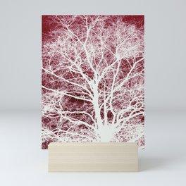 Red tree silhouette Mini Art Print