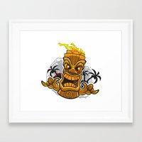 tiki Framed Art Prints featuring Tiki by Eye Opening Design