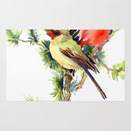 Cardinal Birds on Pine Tree Rug