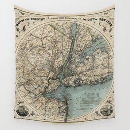 Map of New York 1891 Wall Tapestry