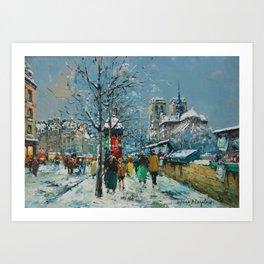 Notre-Dame et les Quais, Winter, Paris by Antoine Blanchard Art Print