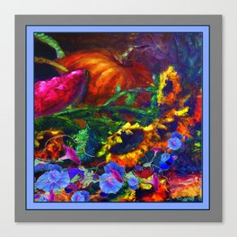 Sunflowers, Morning Glories Still Life In Blue-Grey Canvas Print
