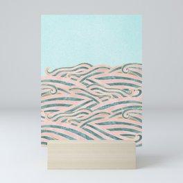 Venetian Waves // Vintage Abstract Pink Blue and Gold Summer Illustration Digital Beach Wall Decor Mini Art Print