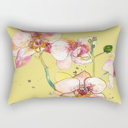 Pink Orchids in Yellow Rectangular Pillow