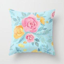 Chalk Pastel Pink & Orange Roses on Sky Blue Throw Pillow