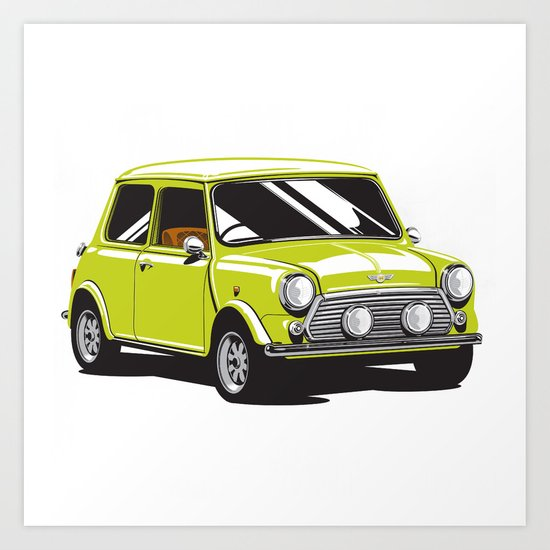 Mini Cooper Car - Chartreuse Art Print