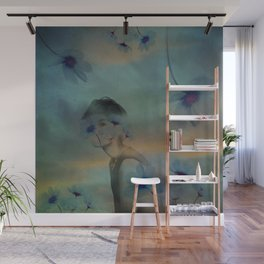 Woman hidden in a world of flowers Wall Mural