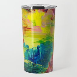 GOING THROUGH THE MOTIONS -  Stunning Saturated Bold Colors Modern Nature Abstract Travel Mug