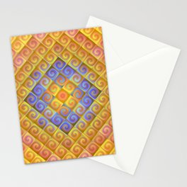 Spirals in Squares Stationery Cards
