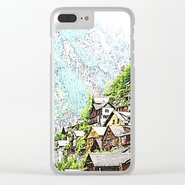 Austria - drawing Hallstatt Clear iPhone Case