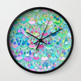 Art Deco Watercolor Patchwork Pattern 2 Wall Clock
