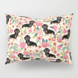 Doxie Florals - vintage doxie and florals gifts for dog lovers, dachshund decor, black and tan doxie Pillow Sham